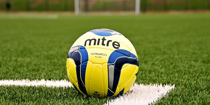 Mitre ball on football pitch